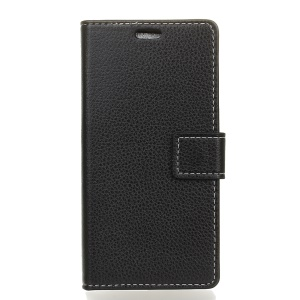 Litchi Skin Wallet Leather Stand Case for Sony Xperia XA3 - Black