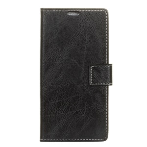 Crazy Horse Leather Wallet Case for Sony Xperia 10 Plus - Black