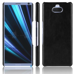 Litchi Texture PU Leather Coated Plastic Mobile Case for Sony Xperia 10 Plus - Black