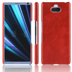 Litchi Texture PU Leather Coated Plastic Shell for Sony Xperia 10 Plus - Red