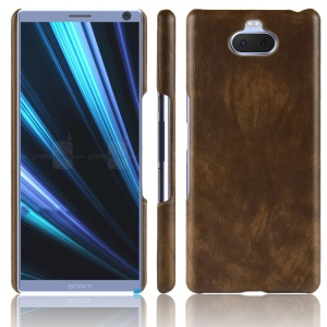 Litchi Texture PU Leather Coated Plastic Back Shell for Sony Xperia 10 - Brown