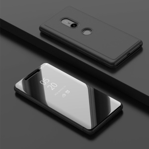 Leather Case for Sony Xperia XZ3 [Plated Mirror Surface] [View Window] [Stand] - Black
