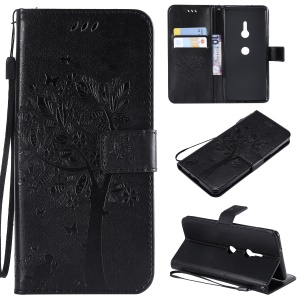 Imprint Cat and Tree Wallet Stand PU Leather Case with Lanyard for Sony Xperia XZ3 - Black