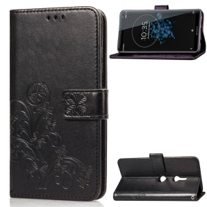 Imprint Clover Pattern Leather Protective Case with Wallet Stand for Sony Xperia XZ3 - Black