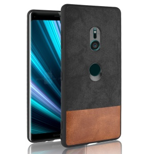 Bi-color Splicing PU Leather Coated PC + TPU Hybrid Case for Sony Xperia XZ3 - Black