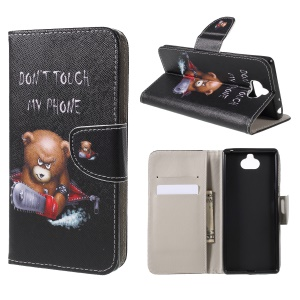 Cross Texture Patterned Wallet Leather Case for Sony Xperia XA3 - Angry Bear