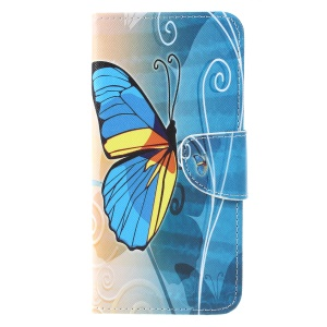 Cross Texture Patterned Wallet Leather Protective Cover for Sony Xperia 10 - Blue Butterfly