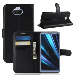 Litchi Grain PU Leather Stand Wallet Case for Sony Xperia 10 Plus - Black