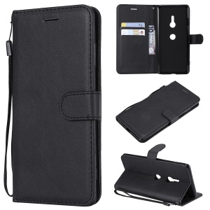 Wallet Stand PU Leather Mobile Case for Sony Xperia XZ3 - Black