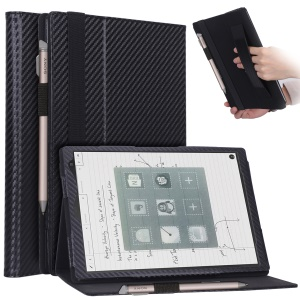 """WY-1988 Business Style Carbon Fiber Texture Leather Case for Sony DPT-CP1 10"""" Digital Paper - Black"""