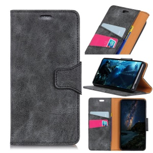 Vintage Style Split Leather Folio Flip Case for Sony Xperia L3 - Grey