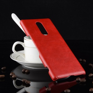 Litchi Texture PU Leather Coated Plastic Hard Case for Sony Xperia 1 - Red