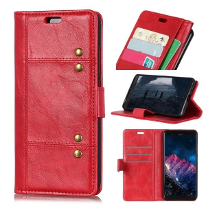 Rivet Decorated Leather Stand Wallet Magnetic Cover for Sony Xperia L3 - Red