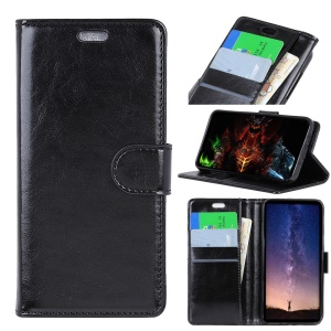 Crazy Horse Magnetic Stand Wallet Leather Mobile Phone Case for Sony Xperia L3 - Black