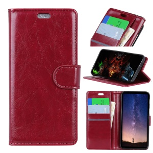 Crazy Horse Magnetic Stand Wallet Leather Mobile Phone Cover for Sony Xperia L3 - Red
