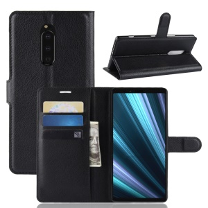 Litchi Skin PU Leather Magnetic Wallet Stand Case for Sony Xperia XZ4 - Black