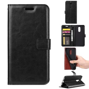 Crazy Horse PU Leather Wallet Case for Sony Xperia 1 - Black
