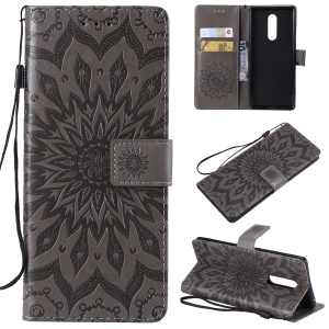 For Sony Xperia XZ4 [Imprint Sunflower] PU Leather Wallet Stand Mobile Case - Grey