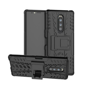 For Sony Sony Xperia 1 [Anti-slip] PC + TPU Hybrid Phone Case with Kickstand - Black