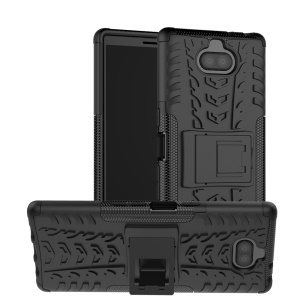 Cool Tyre PC + TPU Combo Case with Kickstand for Sony Xperia 10 Plus - Black
