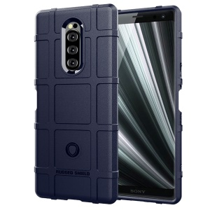 Rugged Square Grid Texture TPU Protection Case for Sony Xperia 1 - Blue