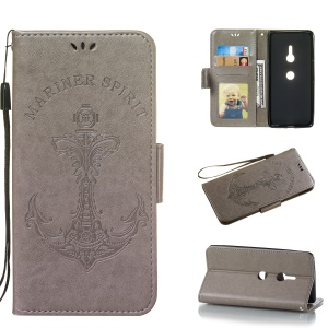 Imprint Anchor Wallet Leather Stand Case for Sony Xperia XZ3 - Grey