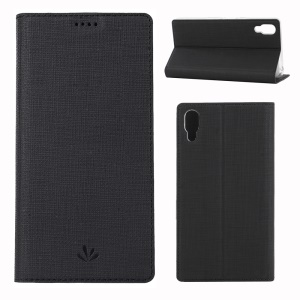 VILI DMX Cross Texture Card Holder Leather Stand Cover for Sony Xperia L3 - Black