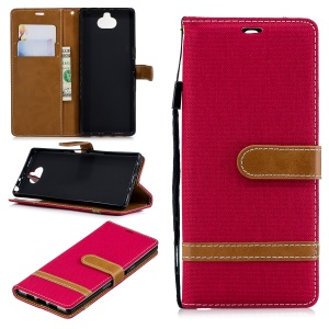 For Sony Xperia 10 Assorted Color Jeans Cloth Wallet Stand Leather Mobile Case - Red