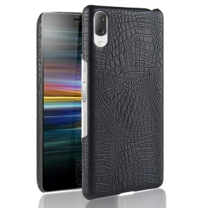 Crocodile Texture PU Leather Coated PC Phone Case for Sony Xperia L3 - Black