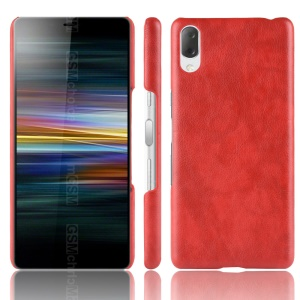 Litchi Texture PU Leather Coated PC Case for Sony Xperia L3 - Red