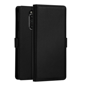 DZGOGO Milo Series Wallet Leather Phone Case for Sony Xperia 1 - Black