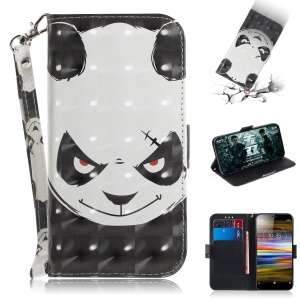 Pattern Printing / Light Spot Decor / Leather Wallet Case for Sony Xperia L3 - Angry Panda