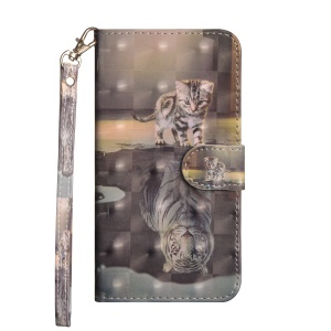 Light Spot Decor Patterned Leather Wallet Case for Sony Xperia L3 - Cat and Reflection in Water