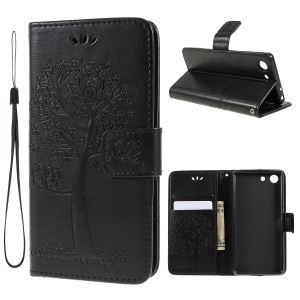 Imprint Tree Owl Leather Wallet Case for Sony Xperia 1 Compact - Black