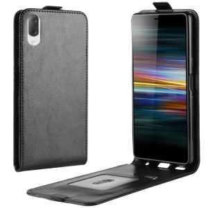 Crazy Horse Vertical Leather Card Holder Case for Sony Xperia L3 - Black