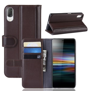 Split Leather Wallet Stand Mobile Phone Cover Shell for Sony Xperia L3 - Brown