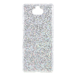 PU Leather Coated Hard PC Mobile Case for Sony Xperia 10 - Silver Glittery Sequins