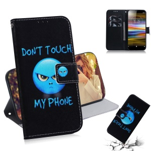 Pattern Printing Leather Wallet Stand Case for Sony Xperia L3 - Angry Face