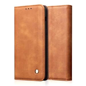 Auto-absorbed Crazy Horse Vintage Leather Stand Case for Sony Xperia 1 - Brown