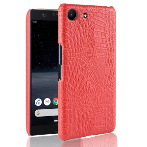 Crocodile Texture PU Leather Coated PC Phone Case for Sony Xperia Ace - Red