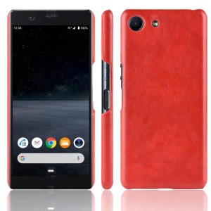 Litchi Texture PU Leather Coated Hard PC Cover Shell for Sony Xperia Ace SO-02L - Red