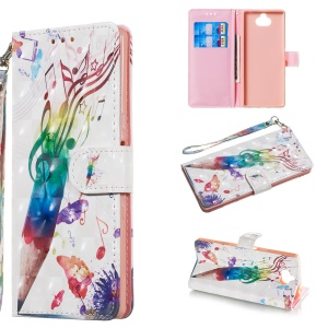 Pattern Printing Light Spot Decor Wallet Stand Leather Phone Shell for Sony Xperia 10 - Pencil with Musical Note
