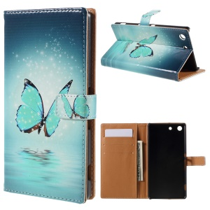 Leather Wallet Case for Sony Xperia M5 E5603/Dual E5633 - Blue Butterfly