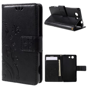 Butterfly Wallet Leather Case for Sony Xperia Z3 Compact D5803 D5833 M55w - Black