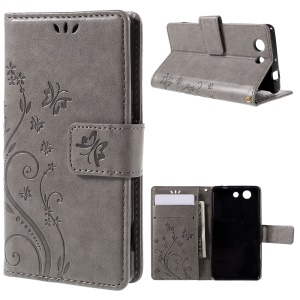 Butterfly Wallet Leather Cover for Sony Xperia Z3 Compact D5803 D5833 M55w - Grey