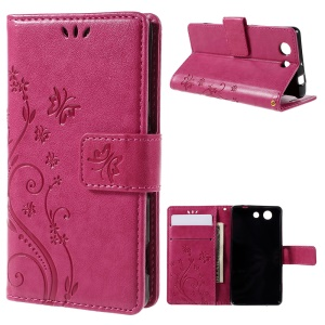 Butterfly Wallet Leather Shell for Sony Xperia Z3 Compact D5803 D5833 M55w - Rose