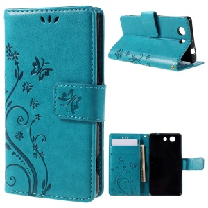 Butterfly Leather Phone Cover for Sony Xperia Z3 Compact D5803 D5833 M55w - Blue