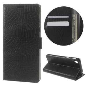 Crocodile Skin Card Holder Stand Leather Cover for Sony Xperia E5 - Black