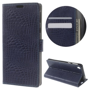Crocodile Skin Card Holder Leather Phone Cover for Sony Xperia E5 - Dark Blue