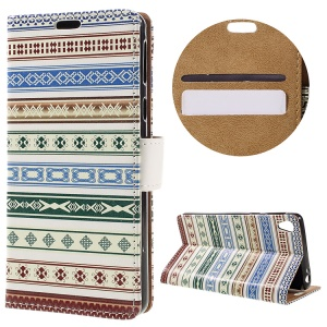 Card Slots Stand Leather Case for Sony Xperia E5 - Tribal Pattern